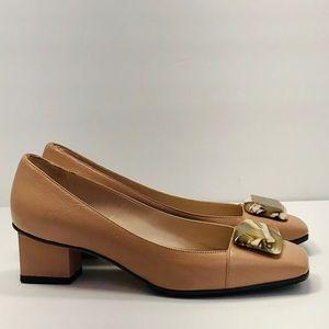 Authentic Salvatore Ferragamo Rose Leather Shoes